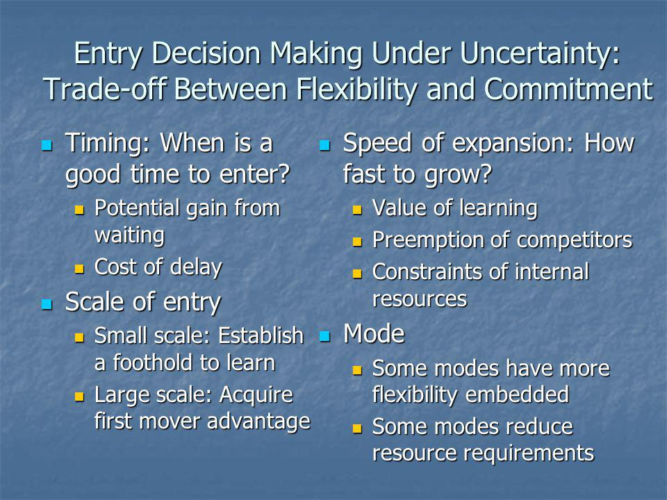 Entry Decision Making Under Uncertainty: Trade-off Between Flexibility and Commitment