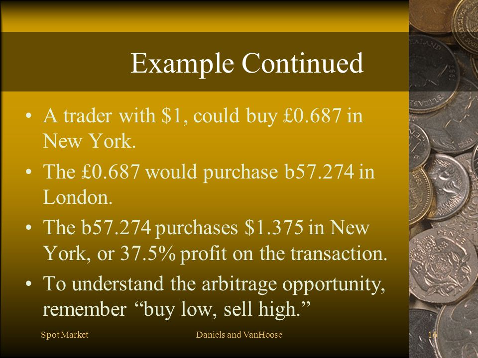 Example Continued A trader with $1, could buy £0.687 in New York.