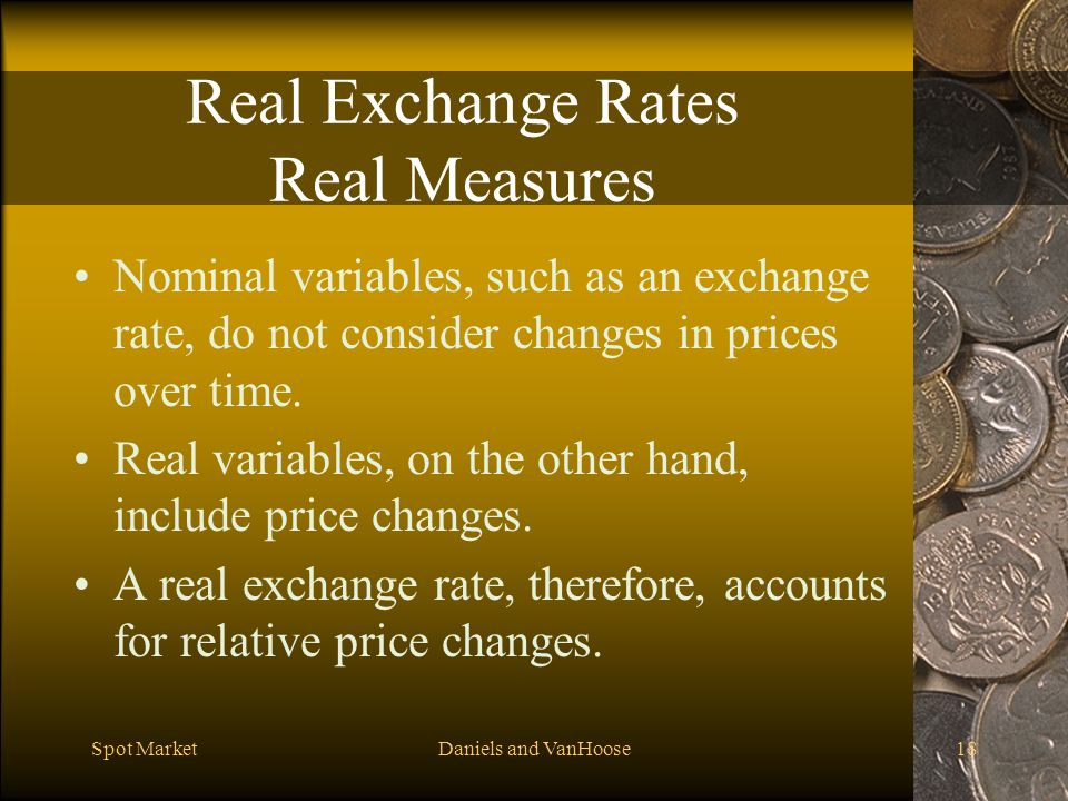 Real Exchange Rates Real Measures