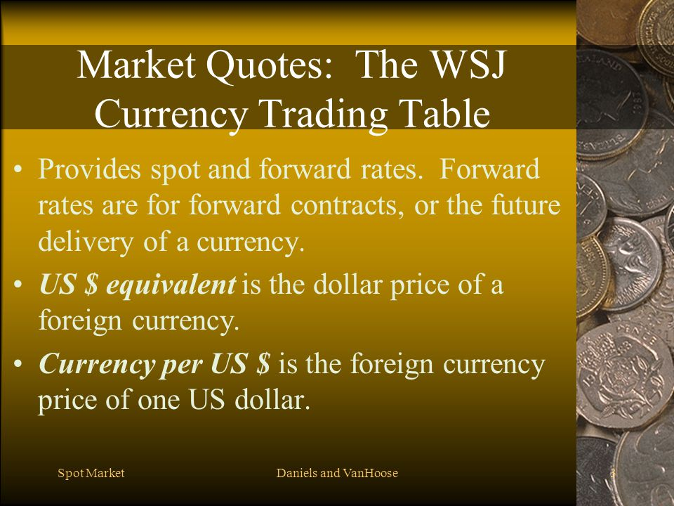 Market Quotes: The WSJ Currency Trading Table