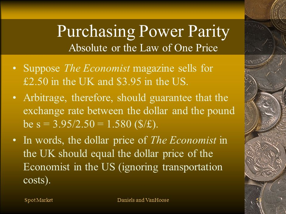 Purchasing Power Parity Absolute or the Law of One Price