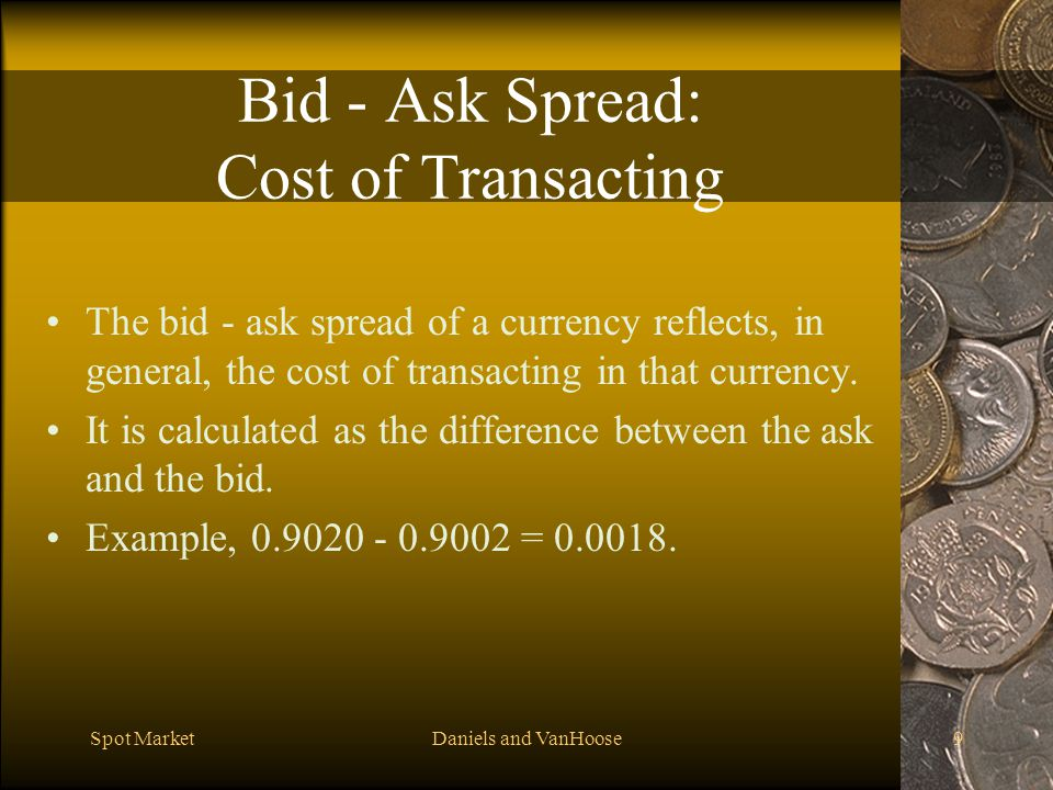 Bid - Ask Spread: Cost of Transacting