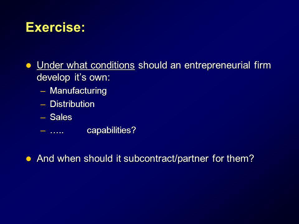 Exercise: Under what conditions should an entrepreneurial firm develop it's own: Manufacturing. Distribution.