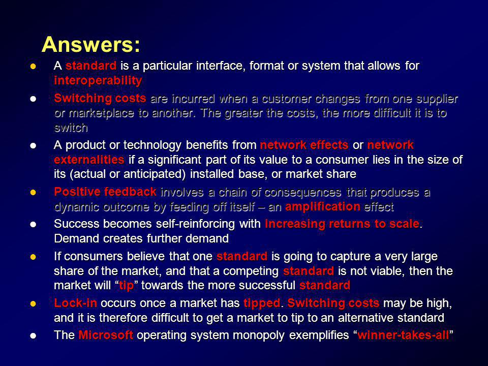 Answers: A standard is a particular interface, format or system that allows for interoperability.