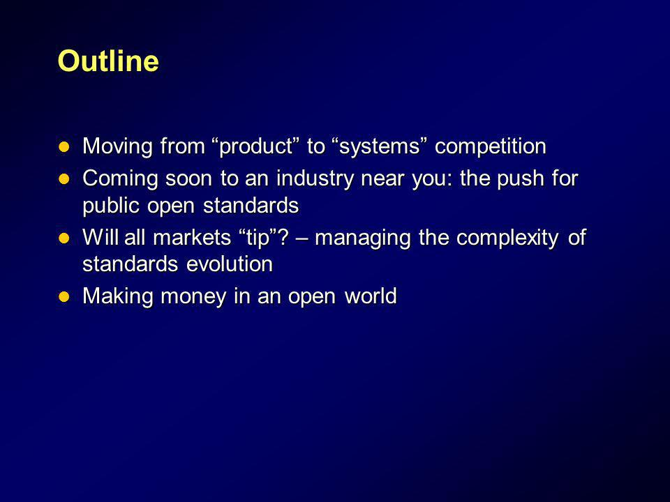 Outline Moving from product to systems competition