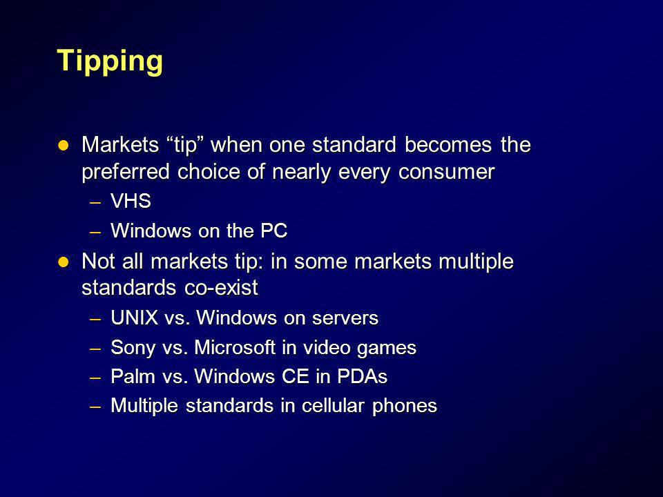 Tipping Markets tip when one standard becomes the preferred choice of nearly every consumer. VHS.