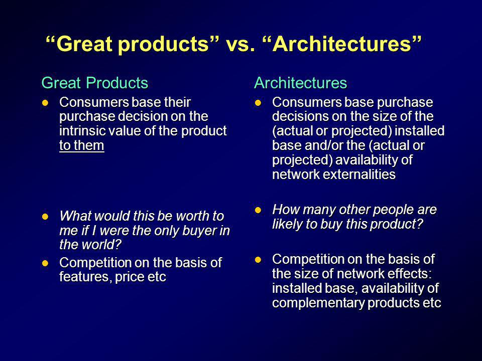 Great products vs. Architectures