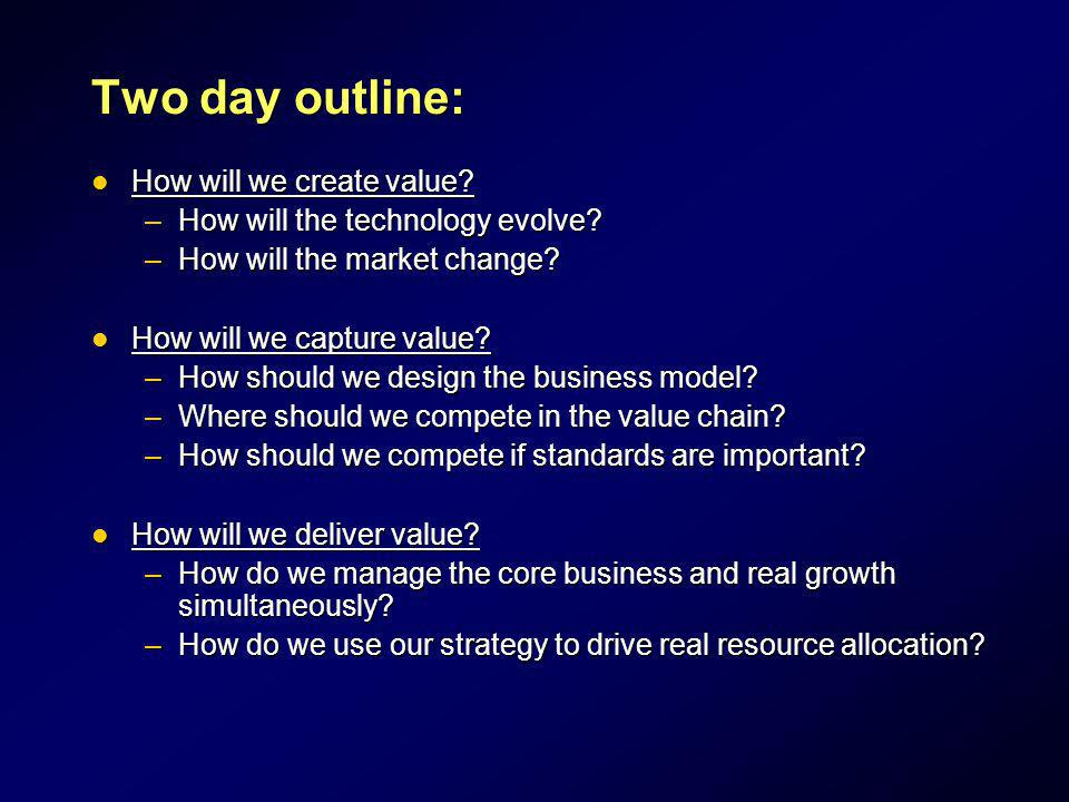 Two day outline: How will we create value