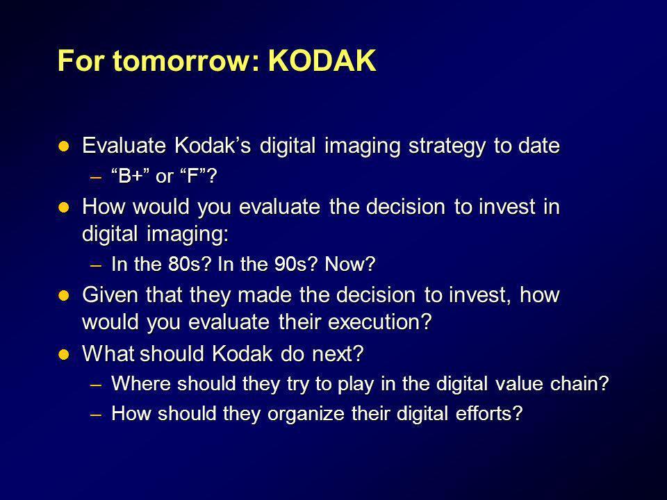 For tomorrow: KODAK Evaluate Kodak's digital imaging strategy to date