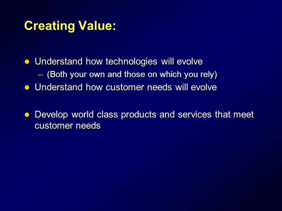 Creating Value: Understand how technologies will evolve
