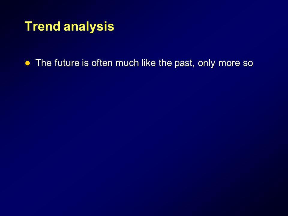 Trend analysis The future is often much like the past, only more so