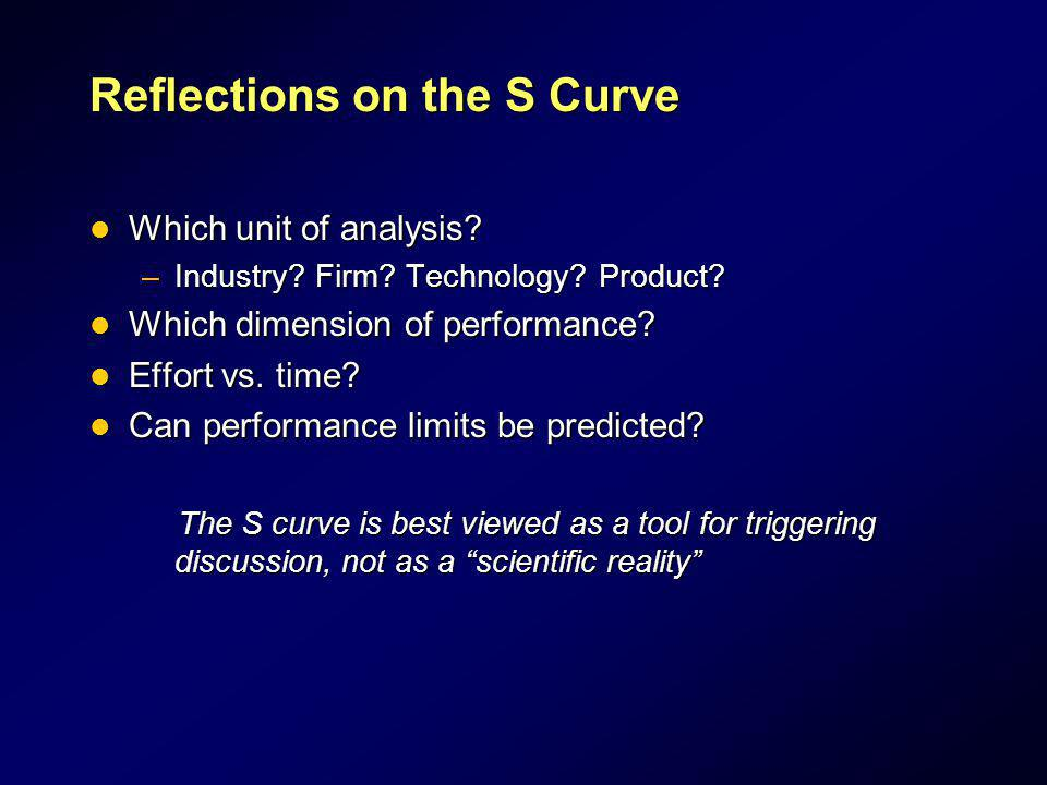 Reflections on the S Curve