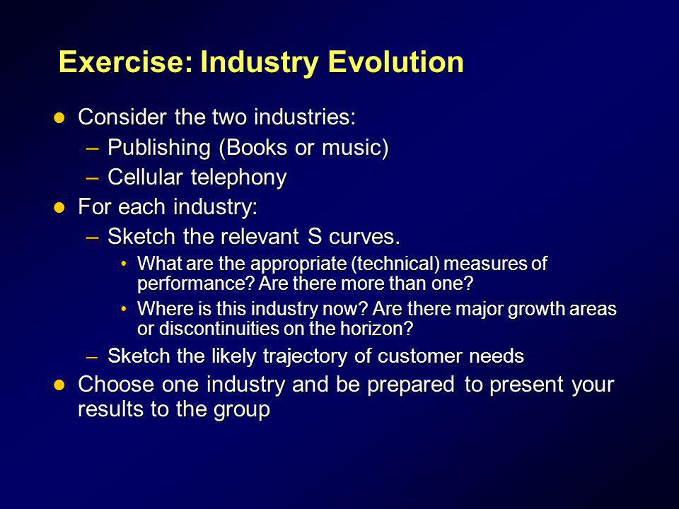 Exercise: Industry Evolution