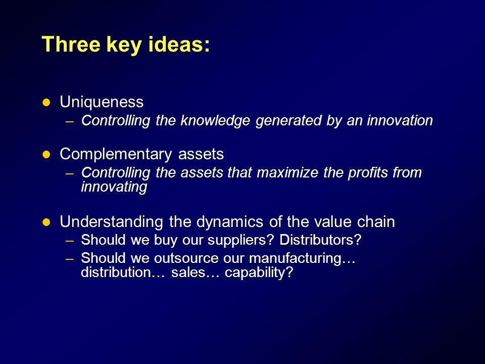 Three key ideas: Uniqueness Complementary assets