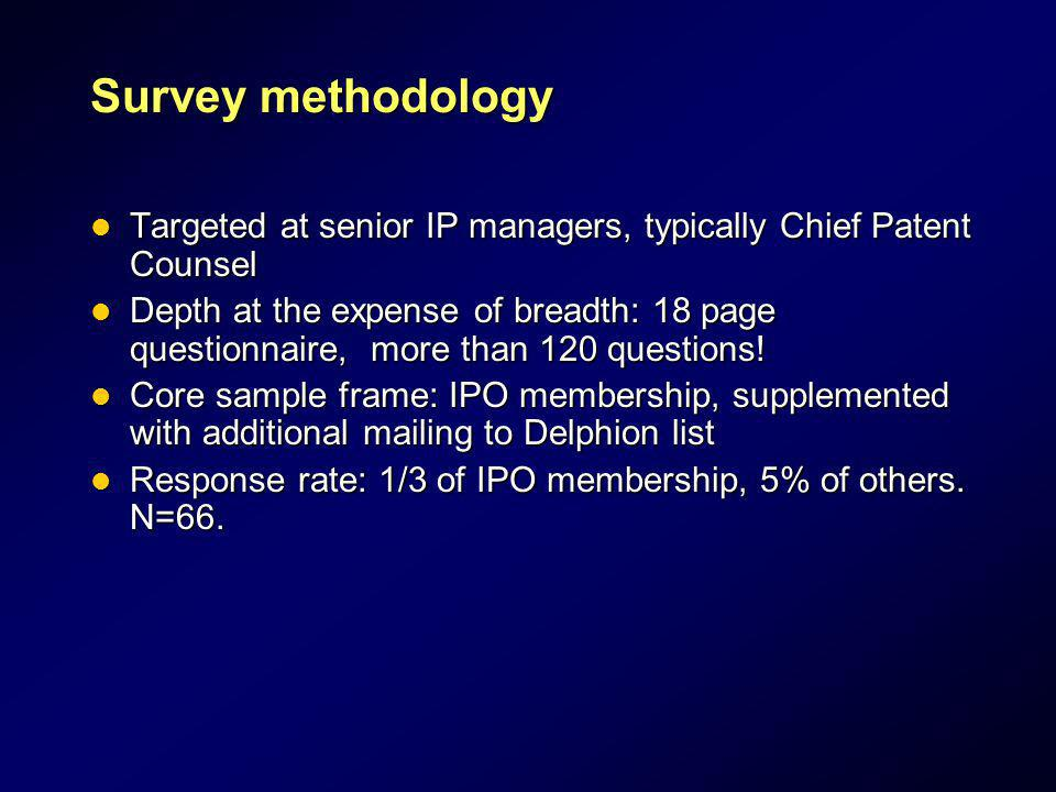 Survey methodology Targeted at senior IP managers, typically Chief Patent Counsel.