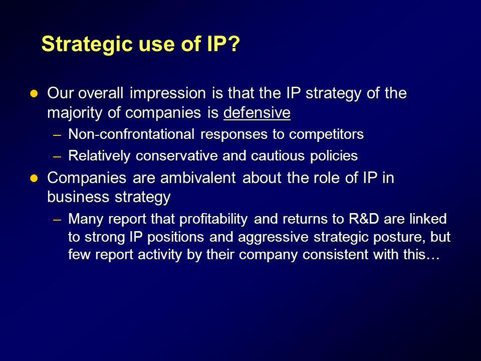Strategic use of IP Our overall impression is that the IP strategy of the majority of companies is defensive.