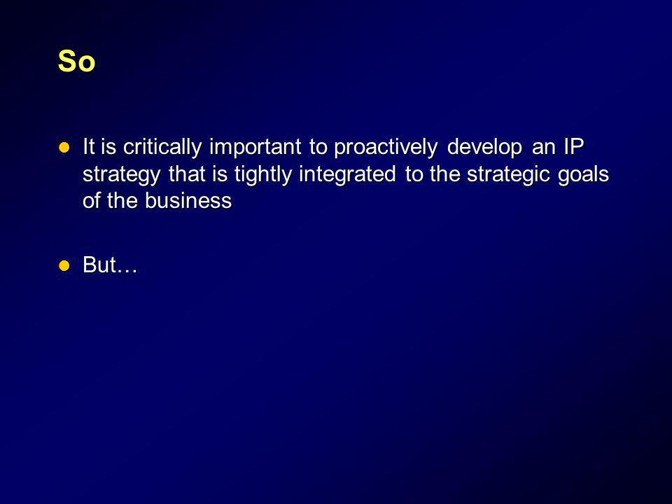 So It is critically important to proactively develop an IP strategy that is tightly integrated to the strategic goals of the business.
