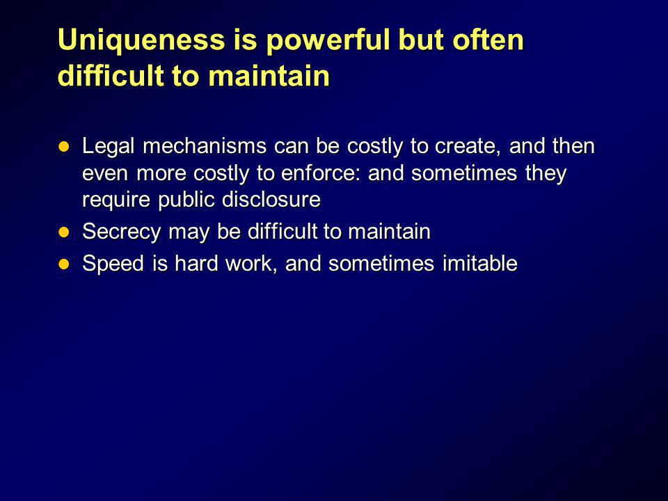 Uniqueness is powerful but often difficult to maintain