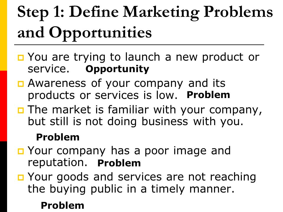 Step 1: Define Marketing Problems and Opportunities