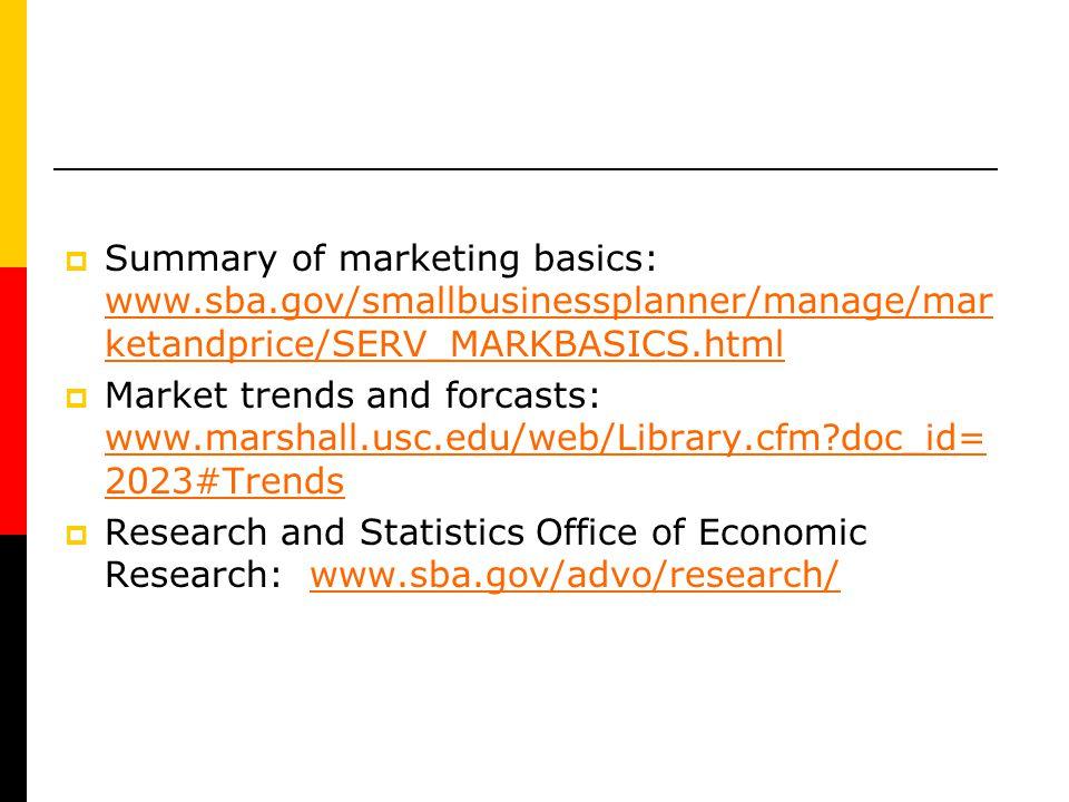 Summary of marketing basics: www. sba