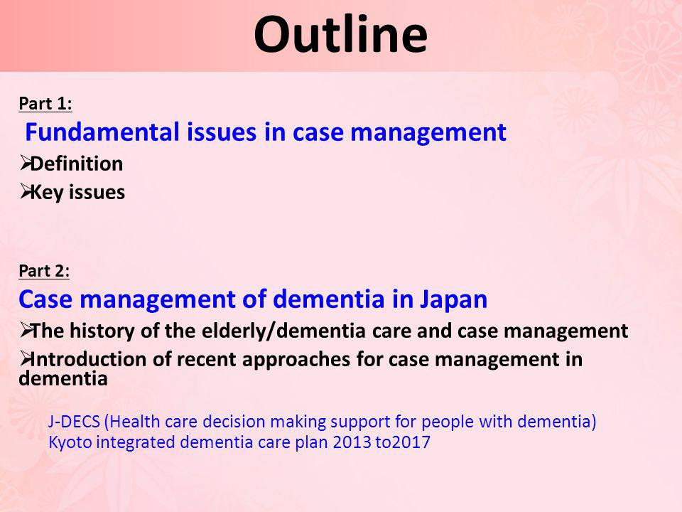 Outline Fundamental issues in case management