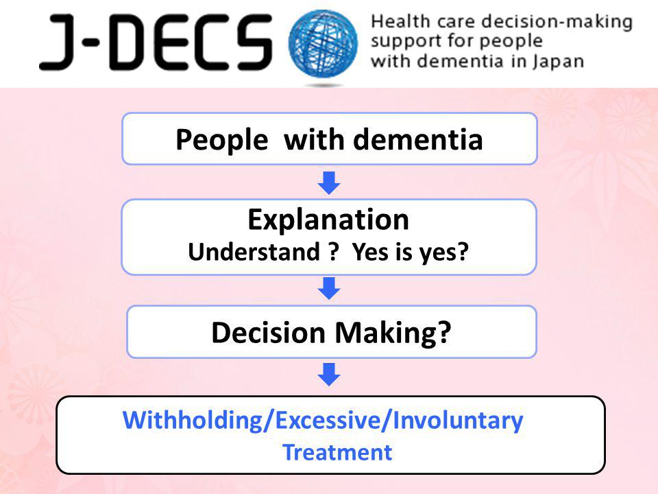 People with dementia Explanation Decision Making