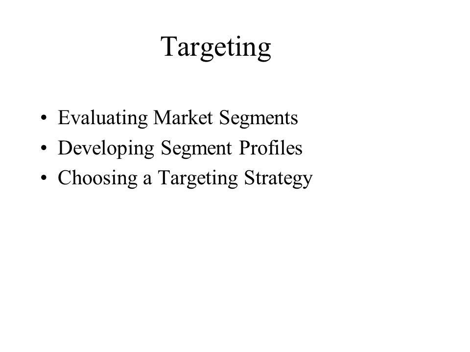 Targeting Evaluating Market Segments Developing Segment Profiles