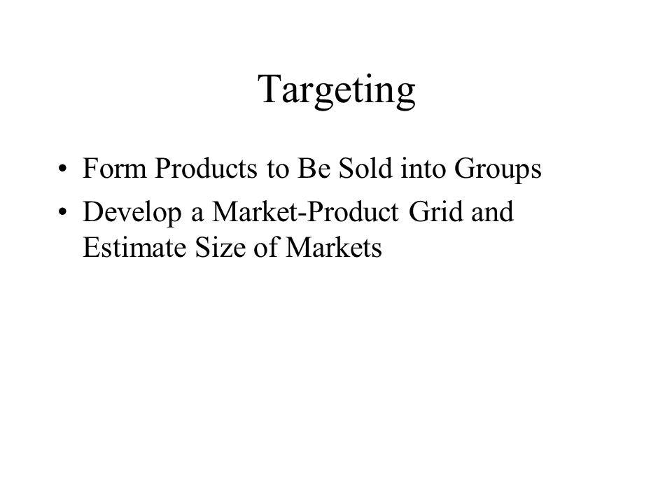 Targeting Form Products to Be Sold into Groups