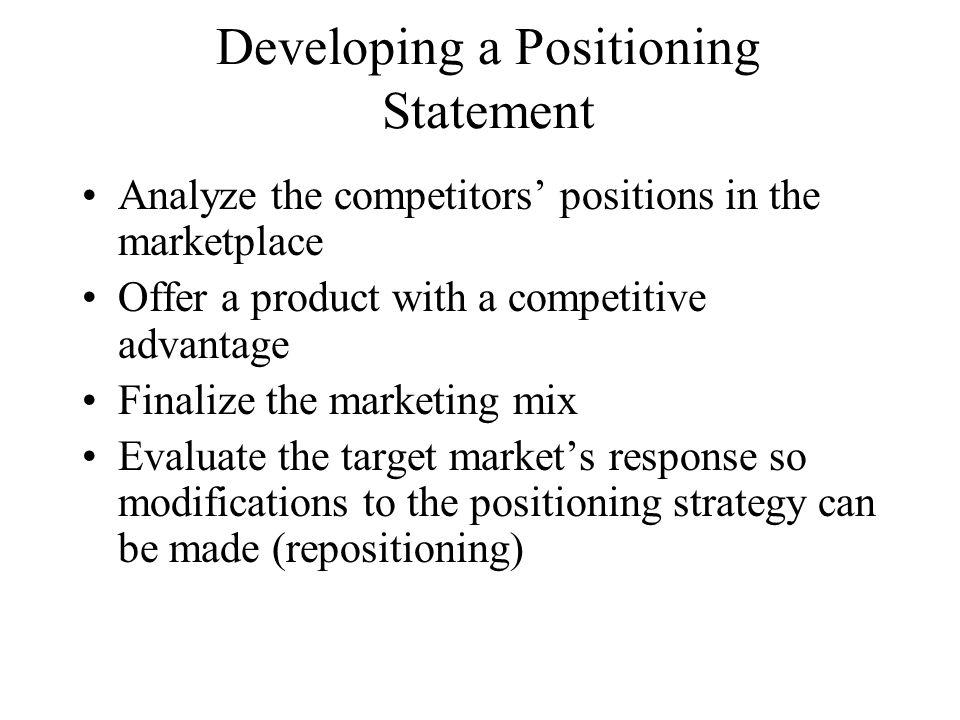 Developing a Positioning Statement