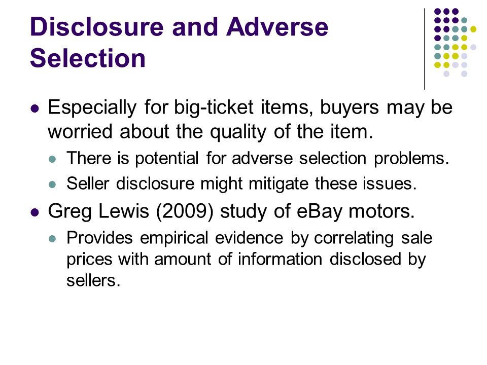 Disclosure and Adverse Selection