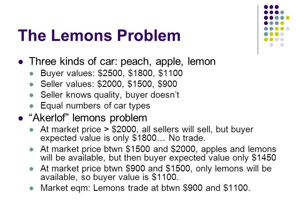 The Lemons Problem Three kinds of car: peach, apple, lemon