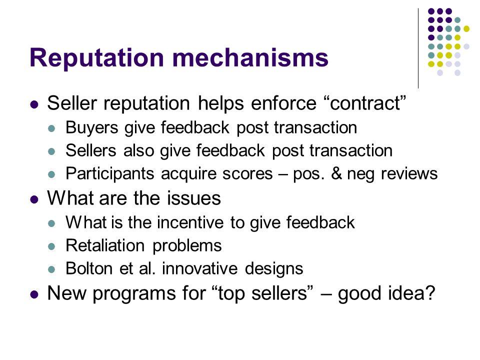 Reputation mechanisms