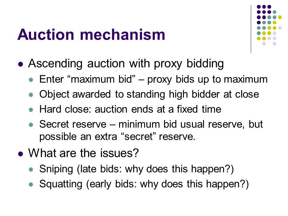 Auction mechanism Ascending auction with proxy bidding