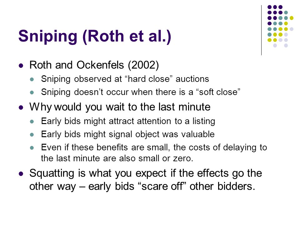 Sniping (Roth et al.) Roth and Ockenfels (2002)