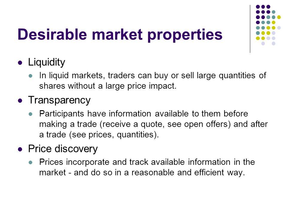 Desirable market properties