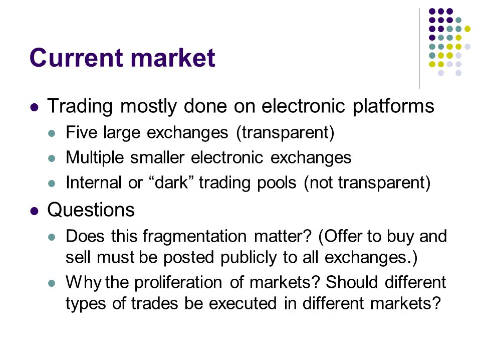 Current market Trading mostly done on electronic platforms Questions