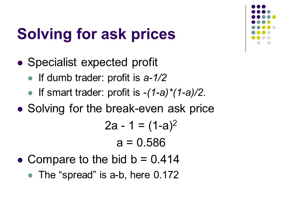 Solving for ask prices Specialist expected profit
