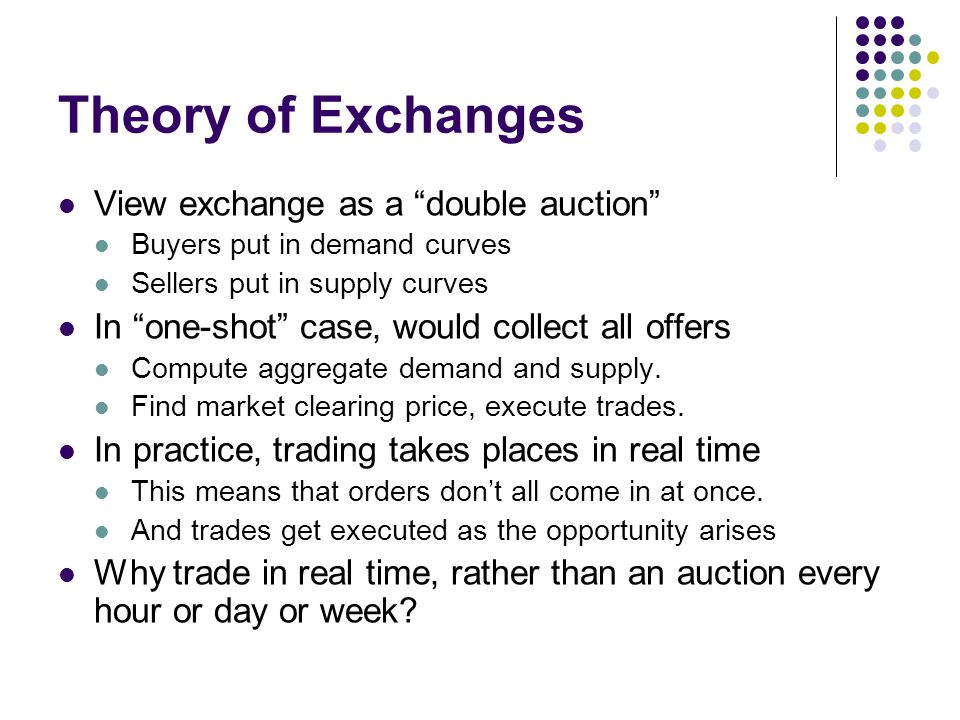 Theory of Exchanges View exchange as a double auction