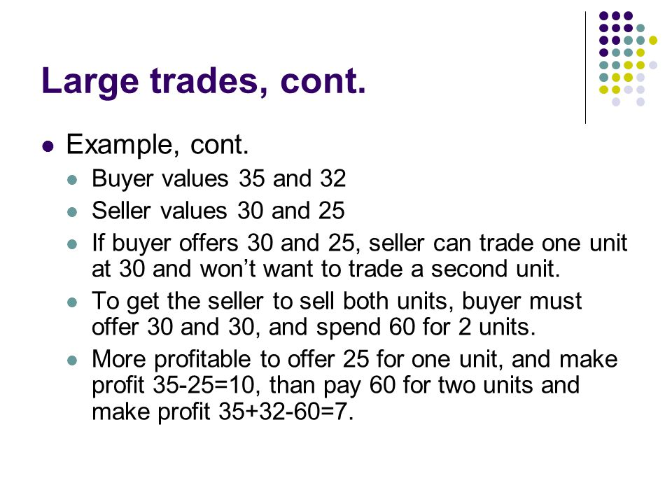 Large trades, cont. Example, cont. Buyer values 35 and 32