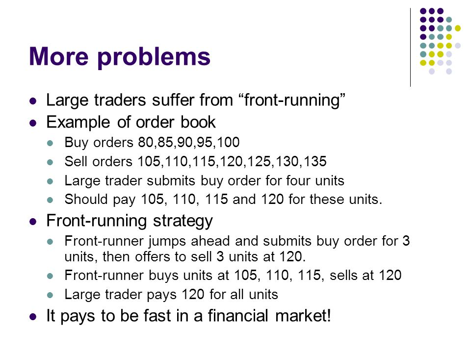 More problems Large traders suffer from front-running