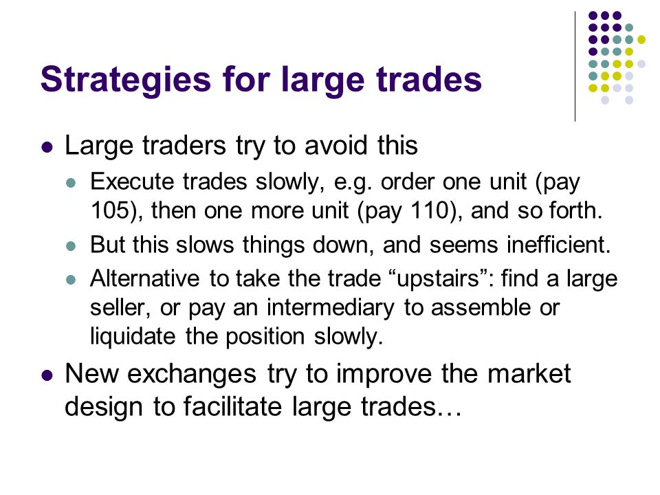Strategies for large trades