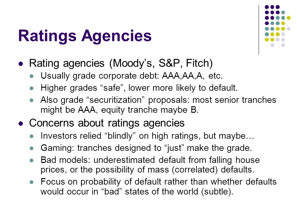 Ratings Agencies Rating agencies (Moody's, S&P, Fitch)