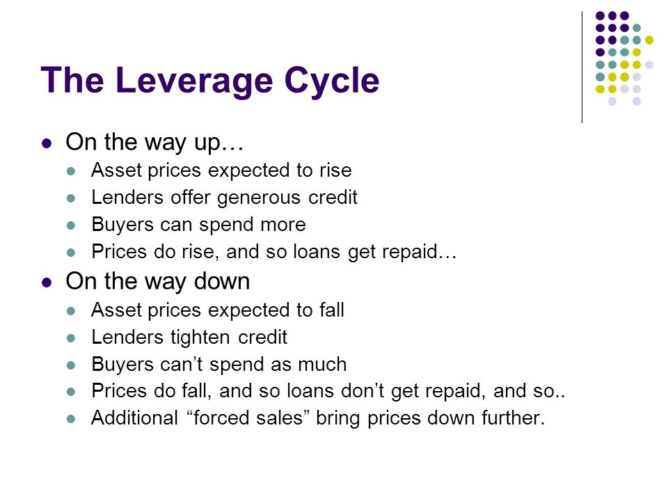 The Leverage Cycle On the way up… On the way down