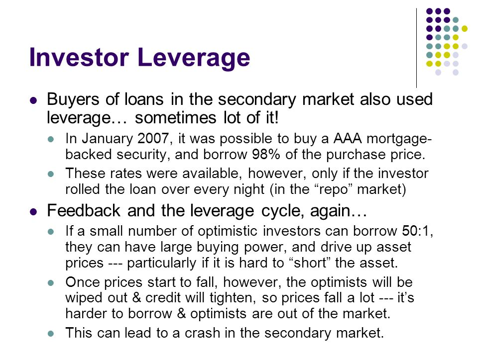 Investor Leverage Buyers of loans in the secondary market also used leverage… sometimes lot of it!