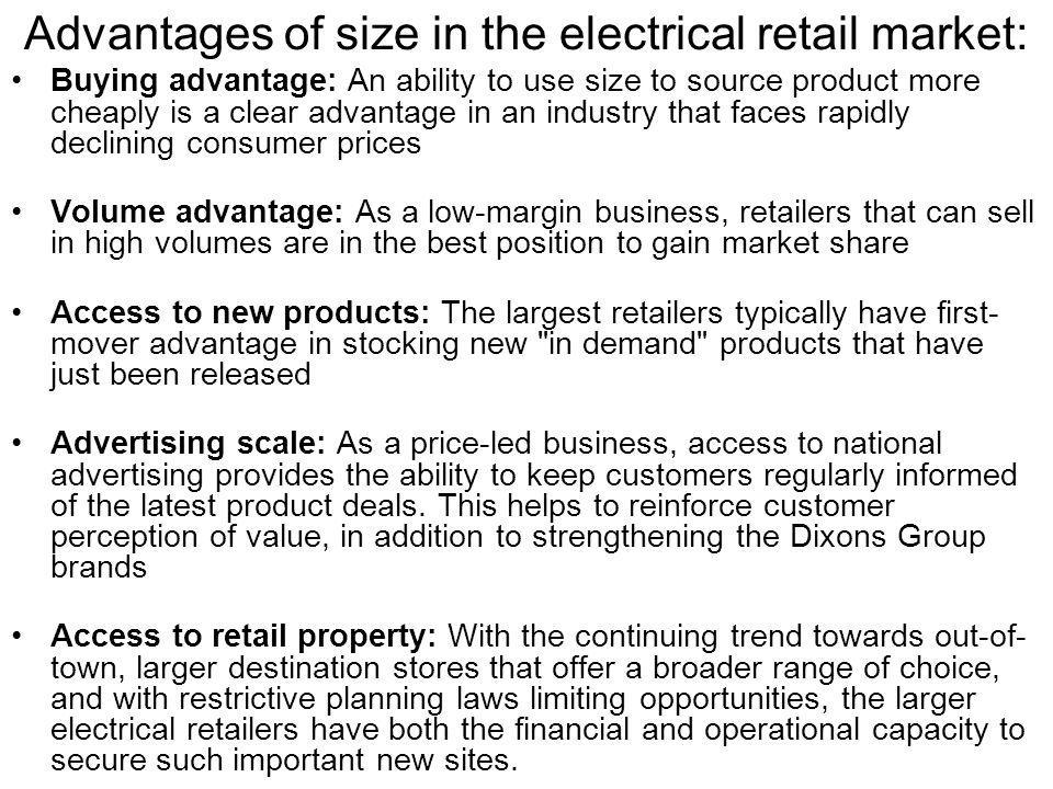 Advantages of size in the electrical retail market: