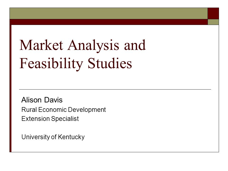 Market Analysis and Feasibility Studies