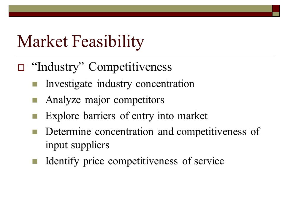 Market Feasibility Industry Competitiveness