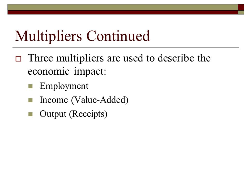 Multipliers Continued