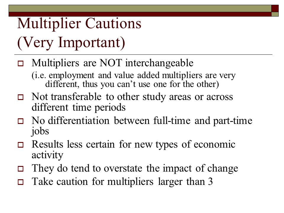 Multiplier Cautions (Very Important)