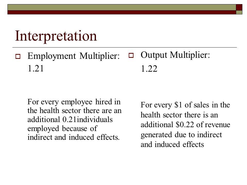 Interpretation Output Multiplier: Employment Multiplier: 1.22 1.21